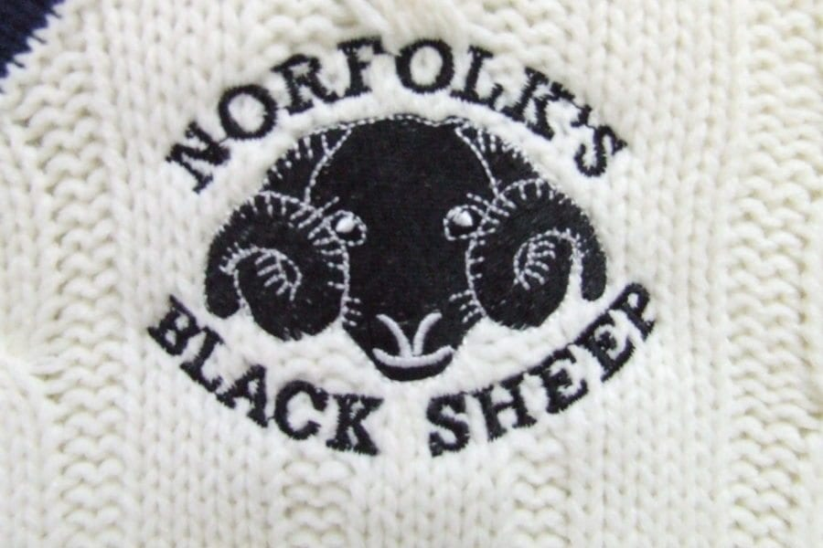 Black Sheep cricket sweater, detail of logo