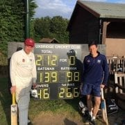 Rags and Potter in front of the scoreboard displaying their partnership